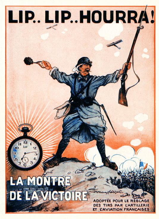 Réclame pub pour montres Lip publicité 1917 armée française artillerie Chronomètre Lip Gousset