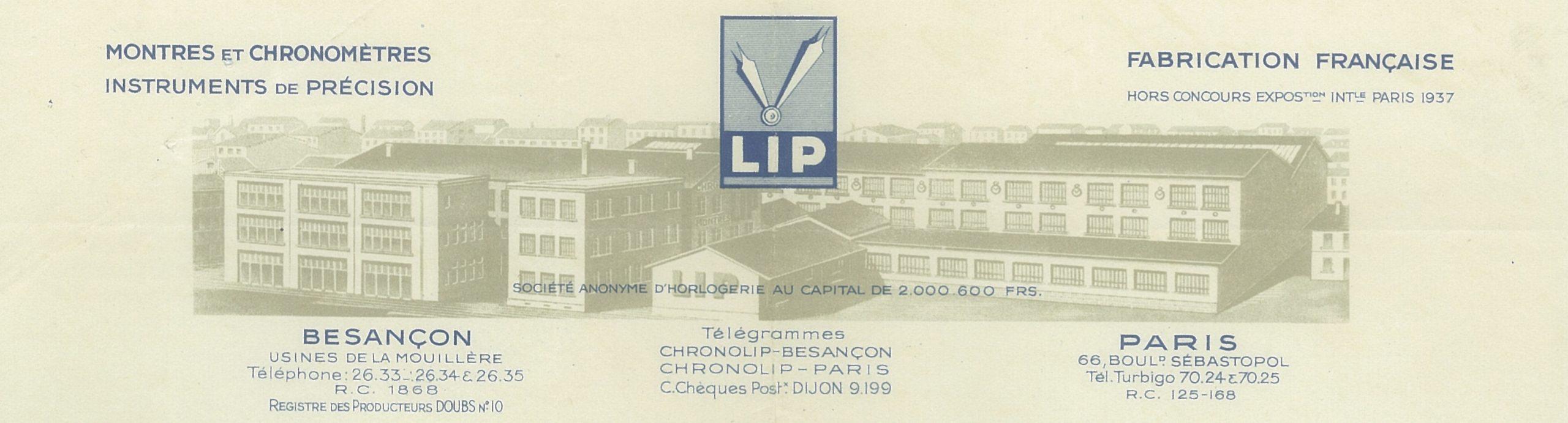 Facture Lip 12 Décembre 1939 en tête Usine Lip de la Mouillère