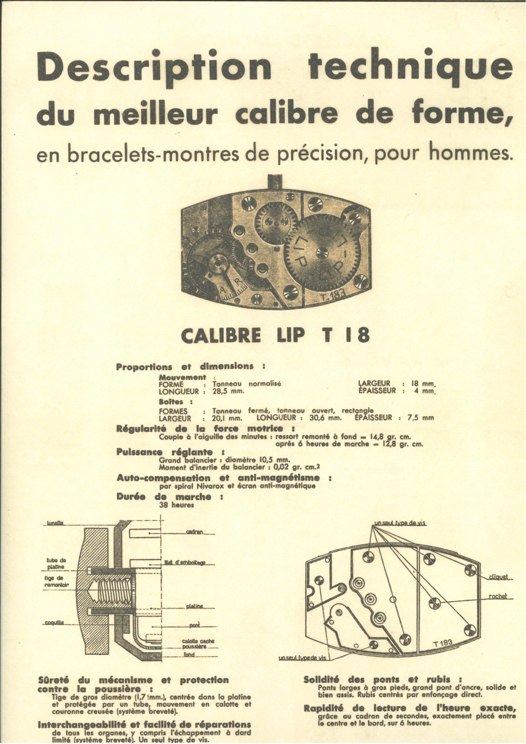 Lip T18 plan technique montre Besançon usine de la Mouillère Ernest LIPMANN @SHL