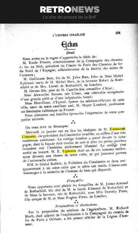 décès emmanuel Lipmann janvier 1913 journal univers israélite