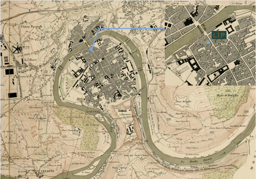 Plan de la ville de Besançon par L ROUZET Atelier horlogerie et de montre gousset Lip Lipmann au 70 puis 14 Grande rue