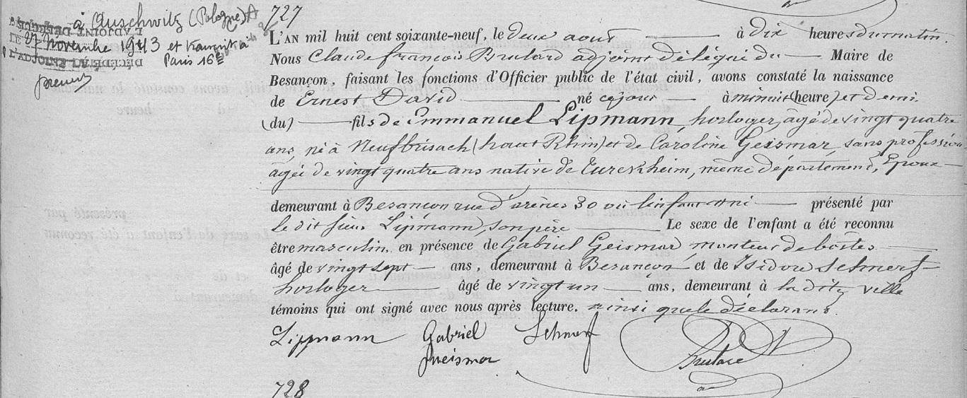 Registre naissance Ernest David Lipmann 2 Aout 1869 besançon cote 1E773 page 245 @Archives Municipales de Besançon