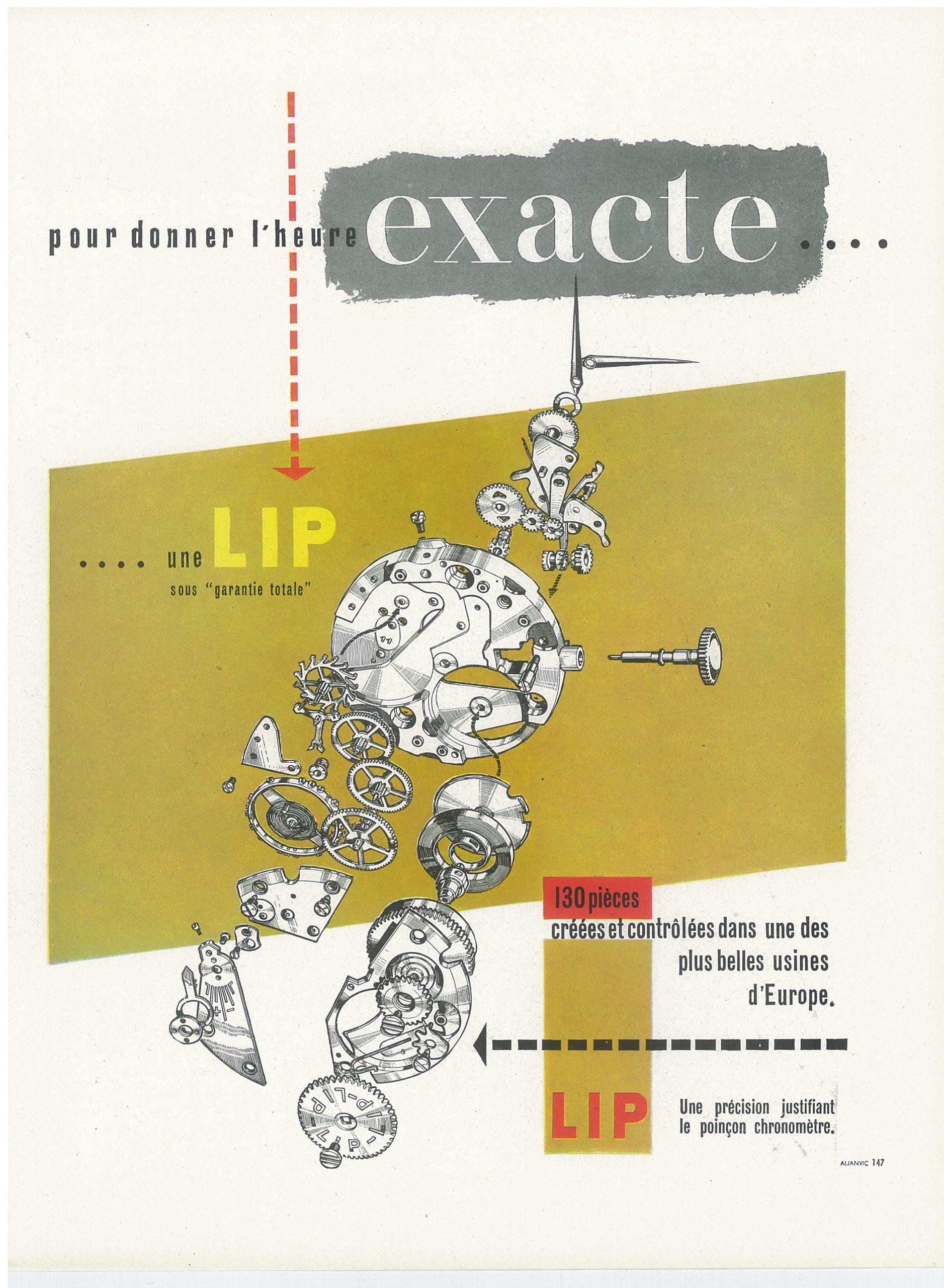 Publicité pour le mouvement Lip R25 de 1955 montre Besançon LIPMANN Fred