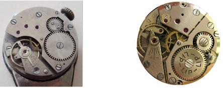 Comparaison mouvements montres Lip I.24 (1940) et Lip R25 (1948)