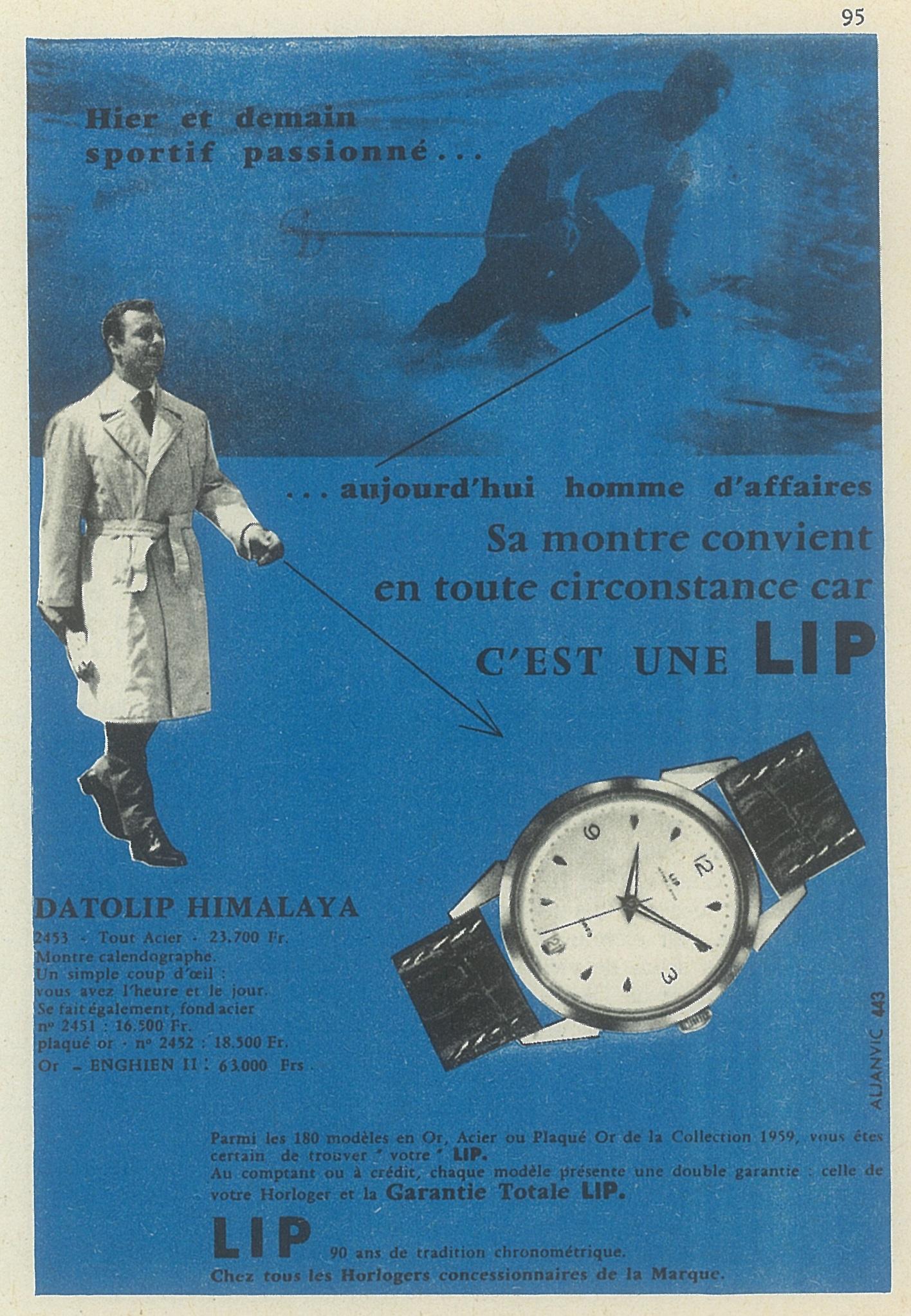 Publicité Pub montre Lip Himalaya R23 C dato plaquée or de 1959 @HAOND Clément
