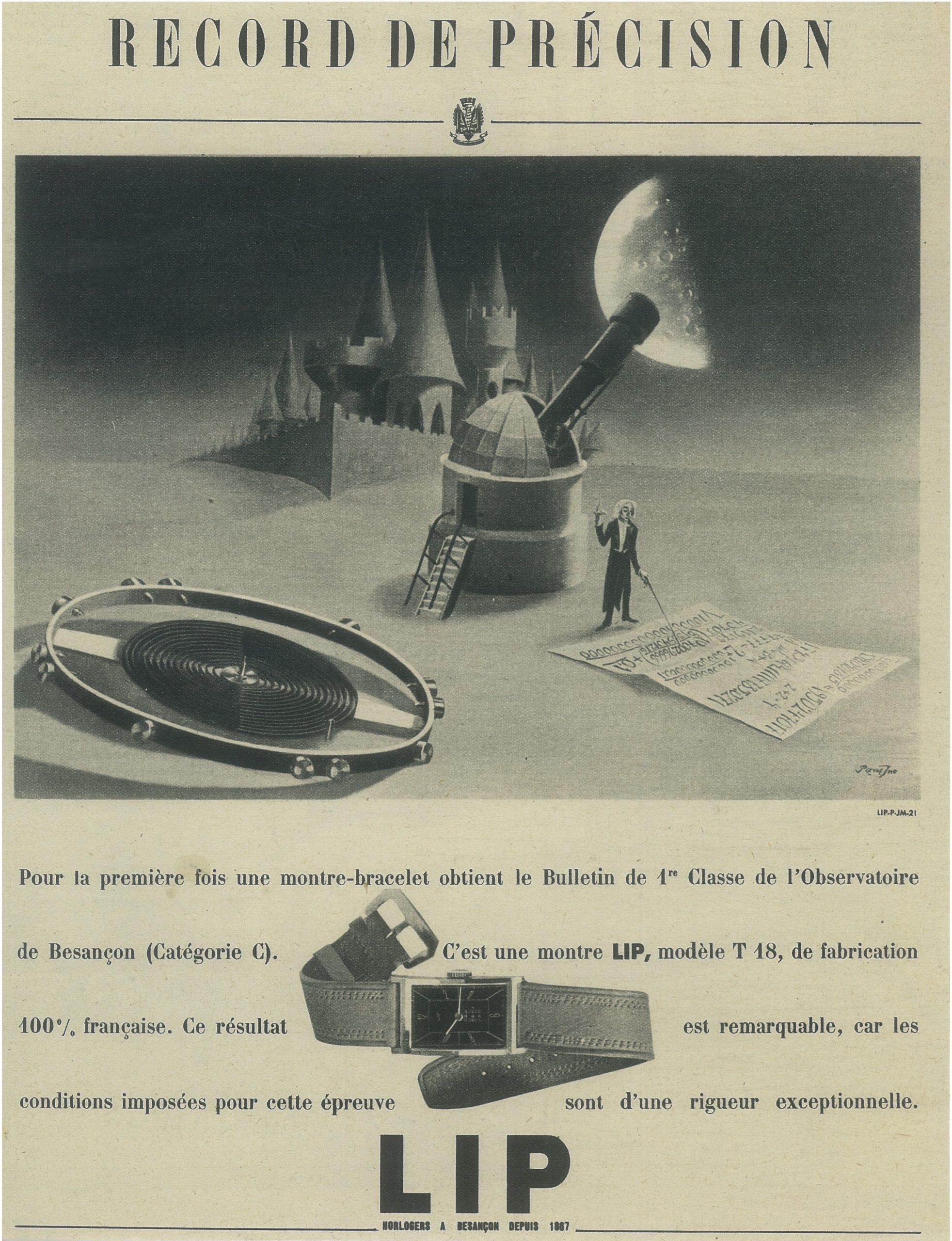 Publicité Lip T18 record de précision Décembre 1946