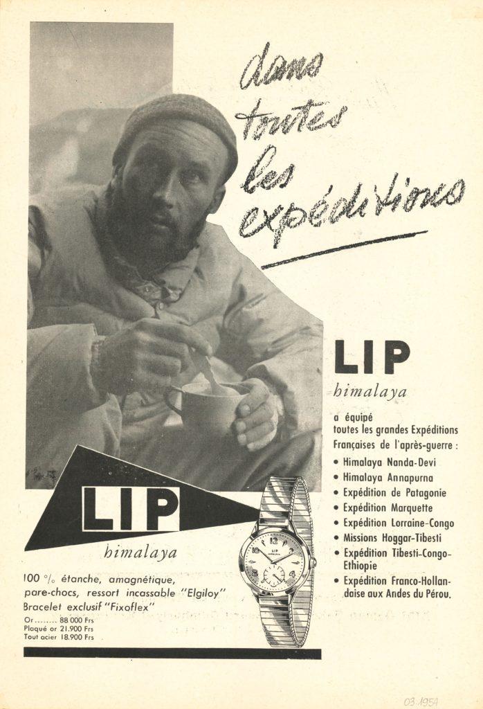 Publicité Lip Himalaya R25 Lionel TERRAY 1952