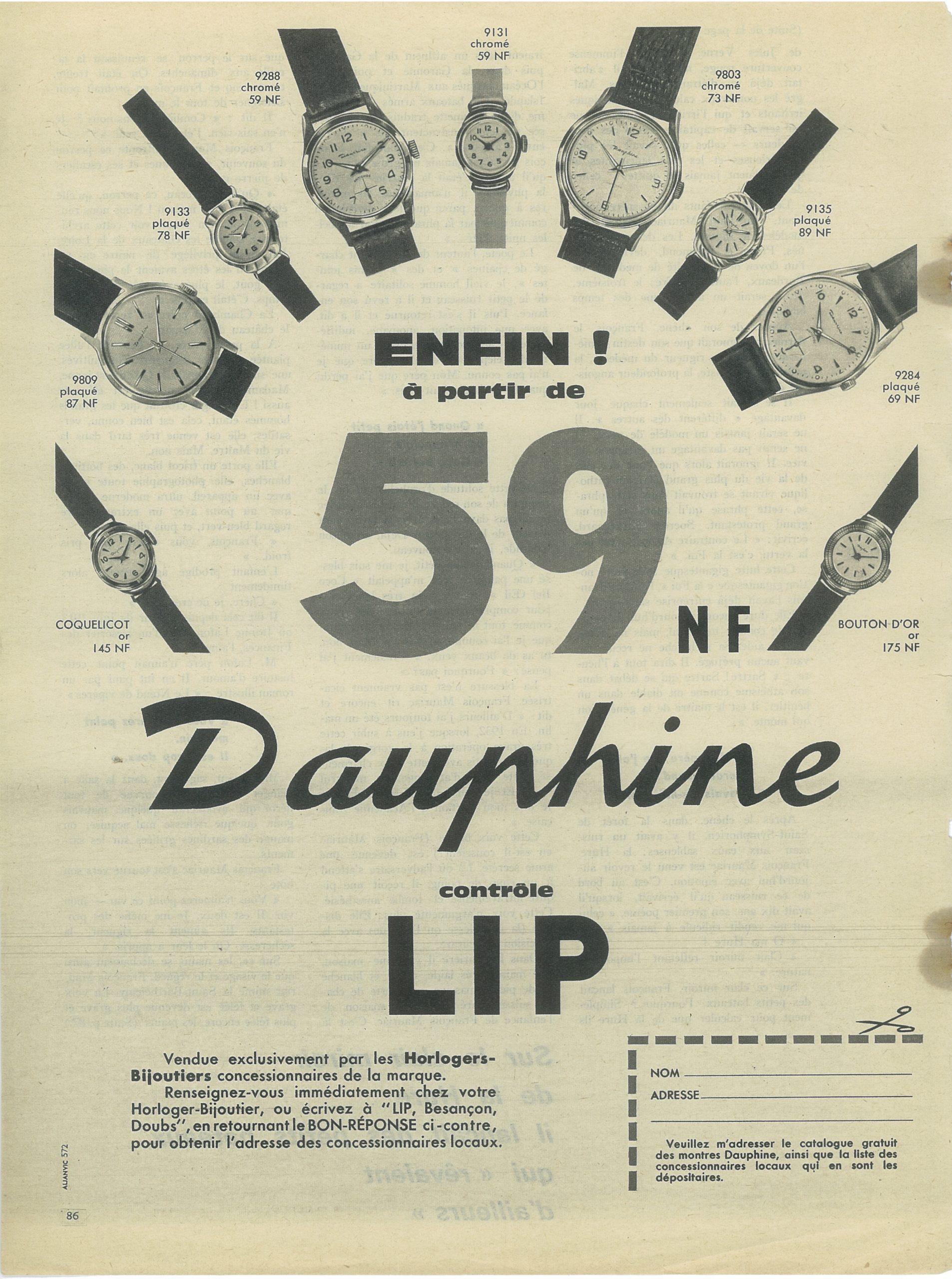 Publicité pub montre Besançon Palente lip dauphine de 1960