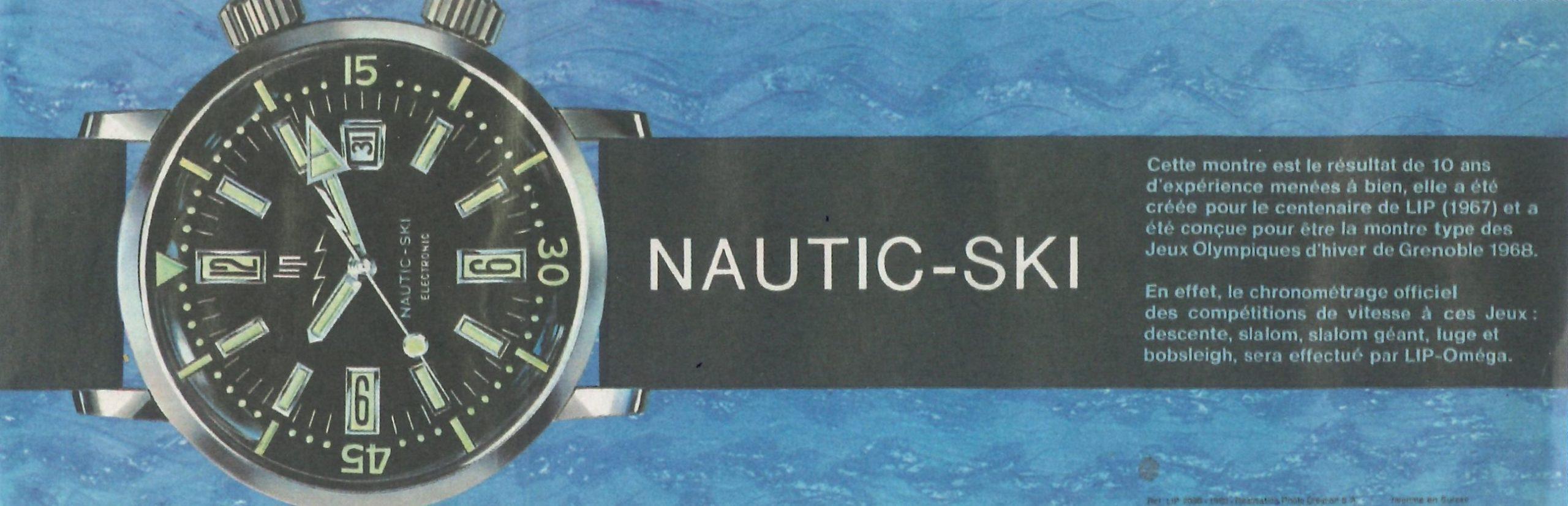 Dépliant publicitaire pub montre sur la Lip Nautic-Ski Electronic 1967 @Musée du Temps