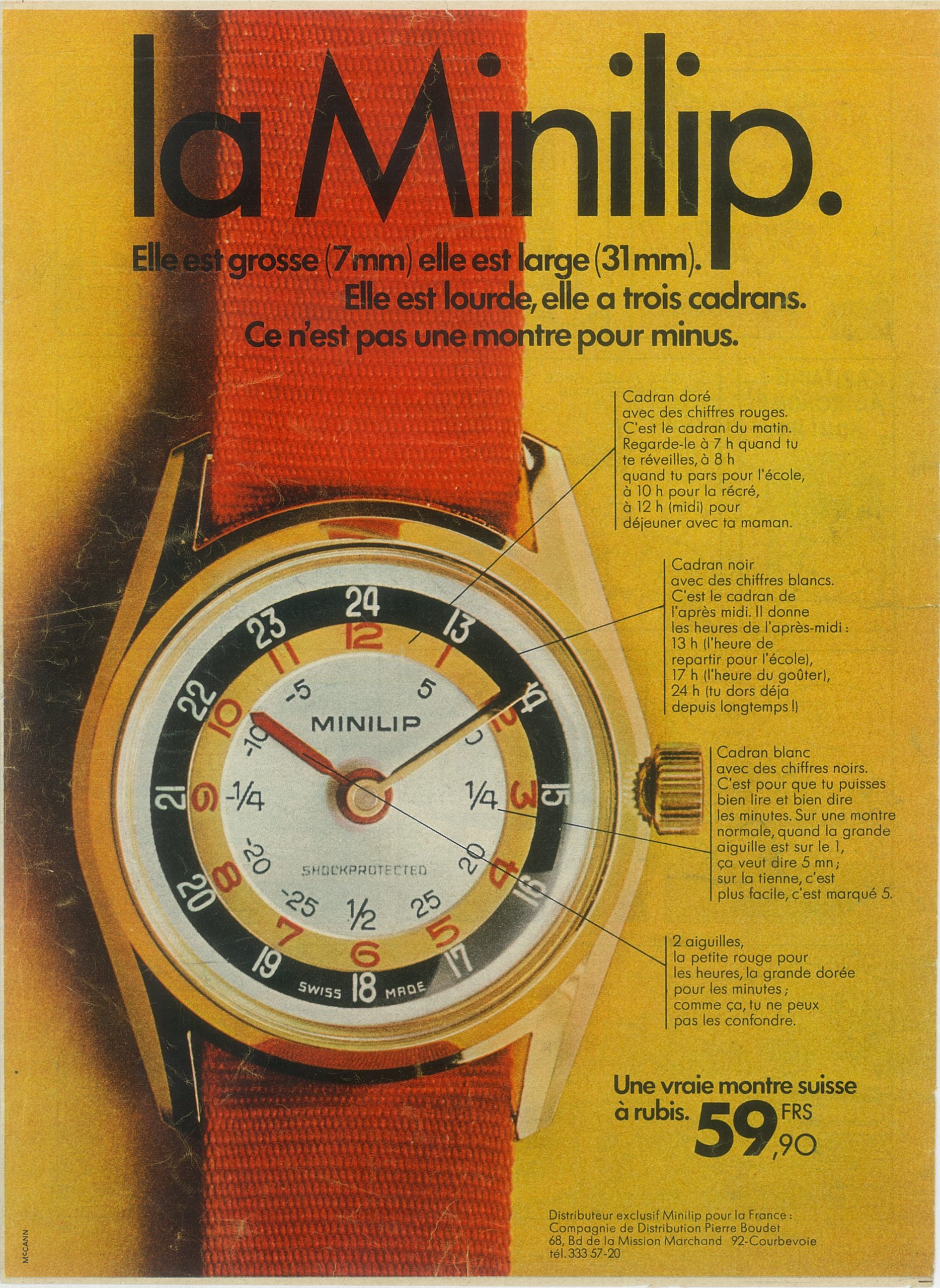 Publicité Lip pour la montre Minilip pédagogique de 1969