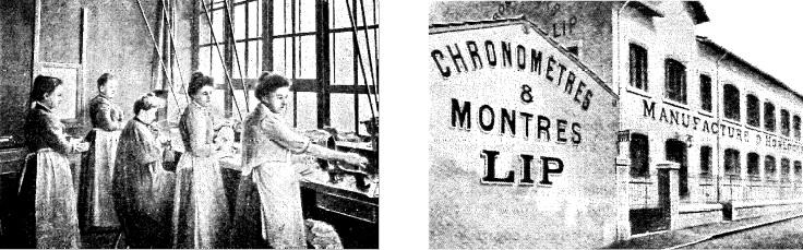 Atelier de polissage des boîtiers et cuvette - Entrée de l'usine Lip de la Mouillère 1908 @Enquête de la France Horlogère - MAUERHAN