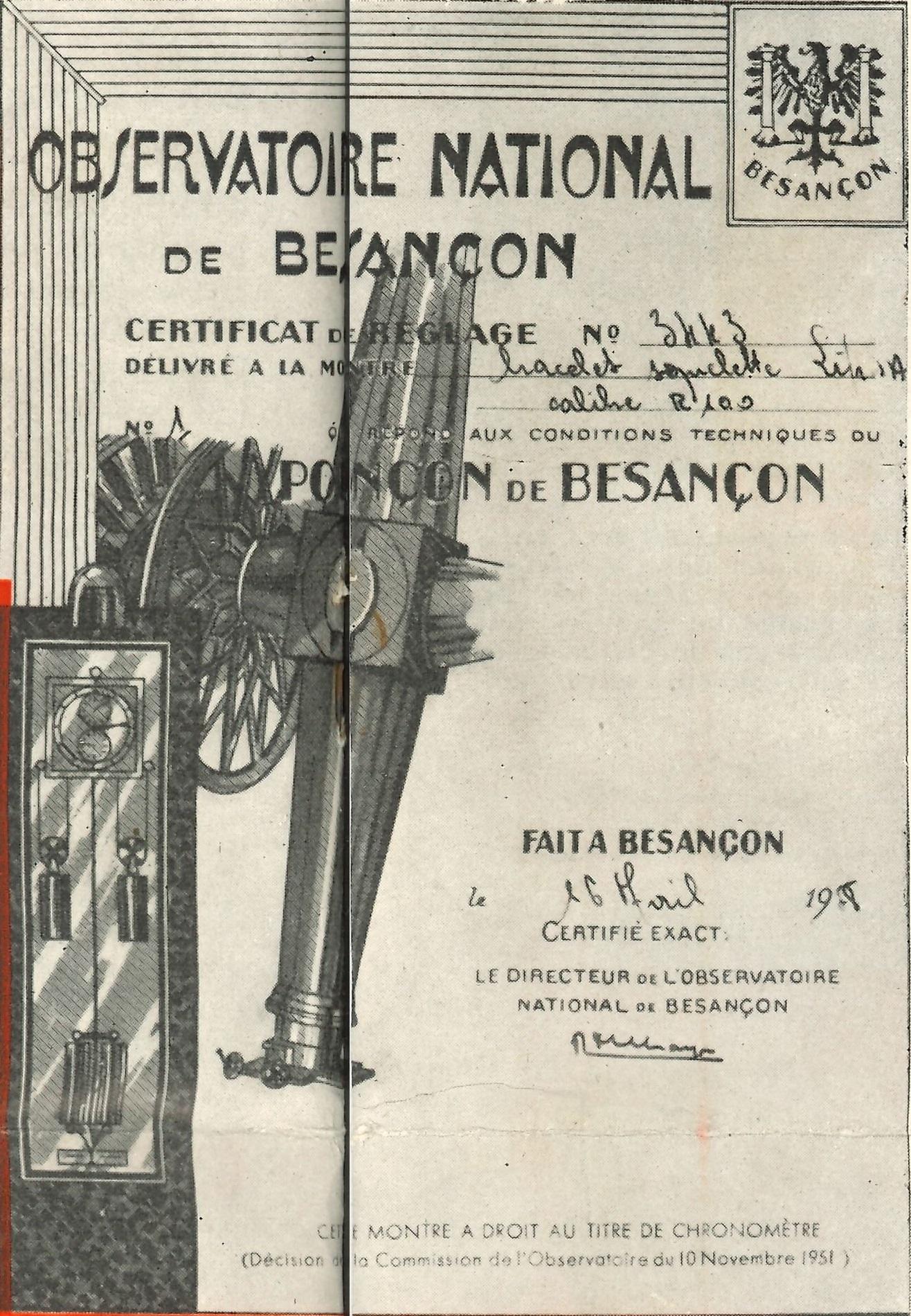 Bulletin Lip N° 25 Juillet 1958 Certificat chronométre Observatoire National de Besançon