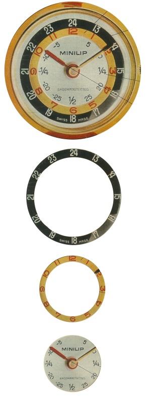 Cercle concentrique Minilip pédagogique indication heure minute cadran 1969