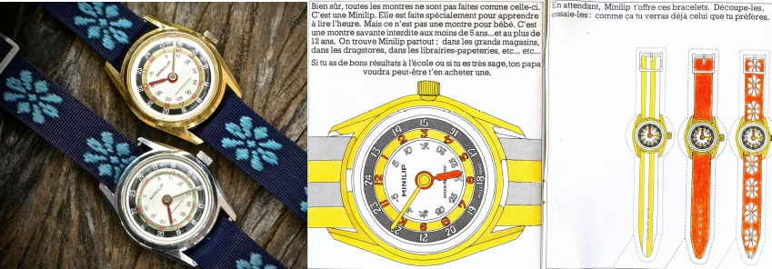 Montre Minilip pédagogique 1969 + fascicule Minilip