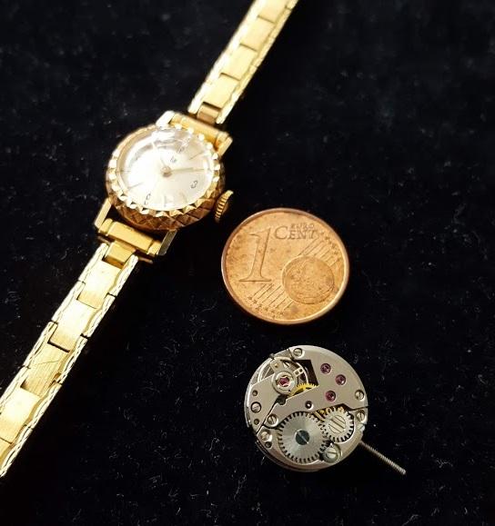 Montre et mouvement Lip R100 pièce 1 centime euros Or 18 carats comparaison