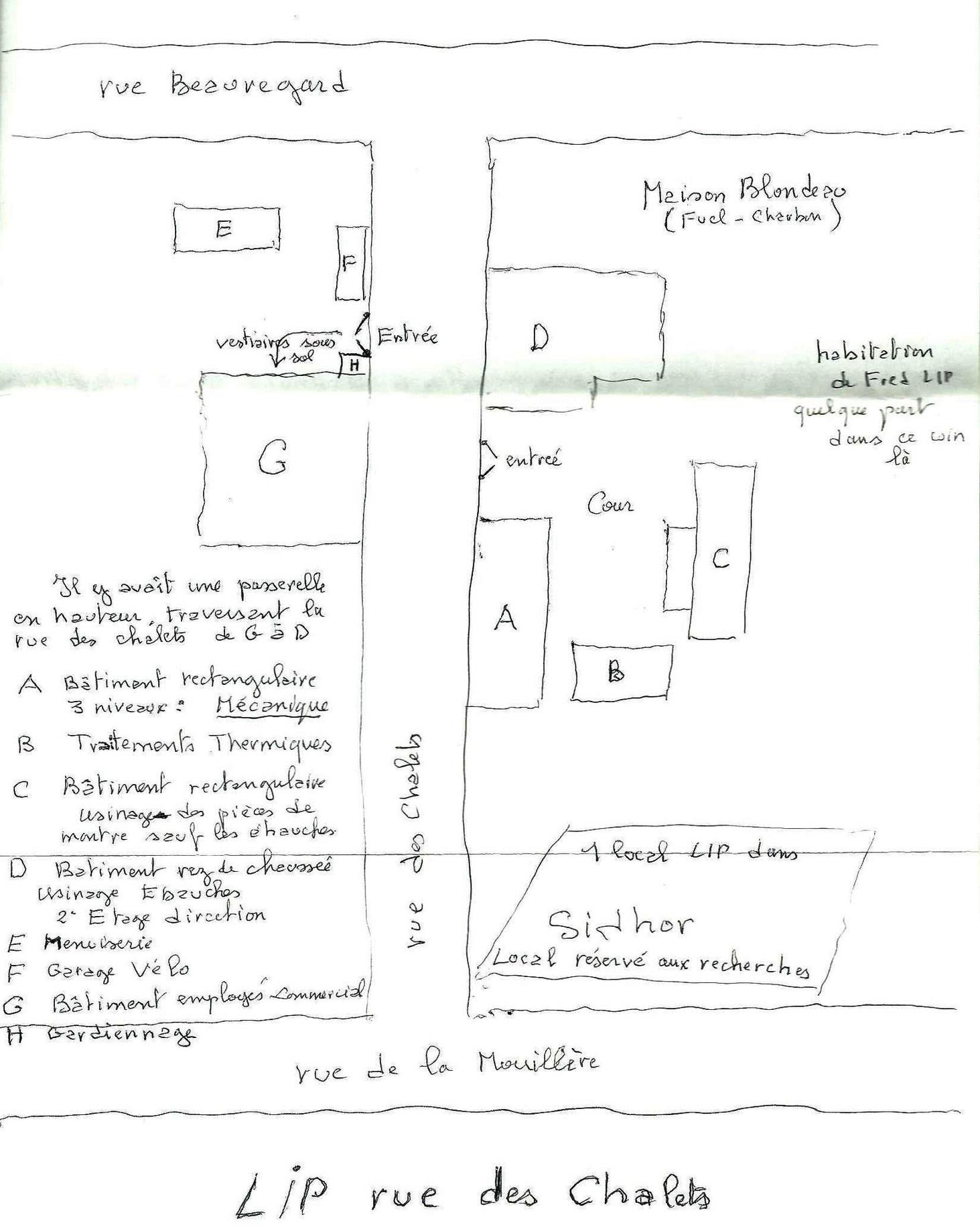 Plan de l'Usine de la Mouillère par Charles Piaget