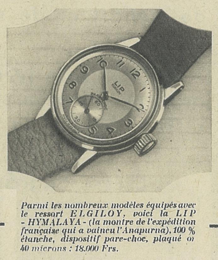 Publicité Lip Himalaya Elgiloy R25 Maurice HERZOG 1951 @HAOND Clément