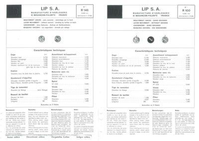 Lip R100 : Nomenclature des fournitures